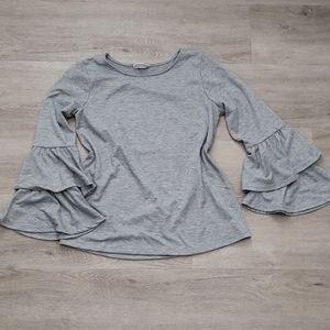 Pleione Grey Tiered Bell Sleeve Top